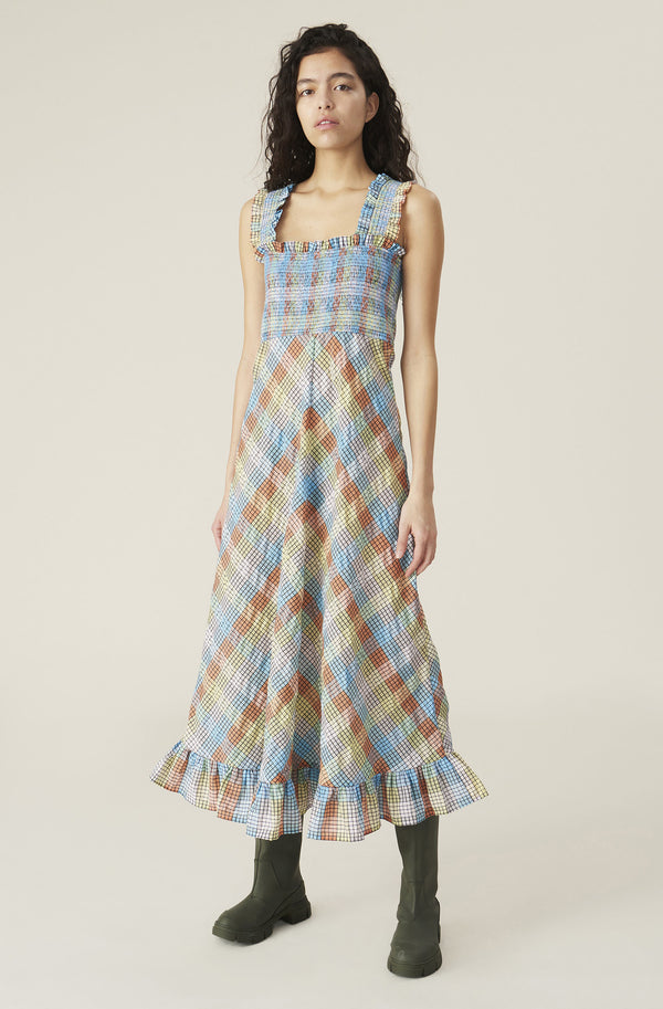 Ganni Seersucker Check Maxi Dress Multicolour