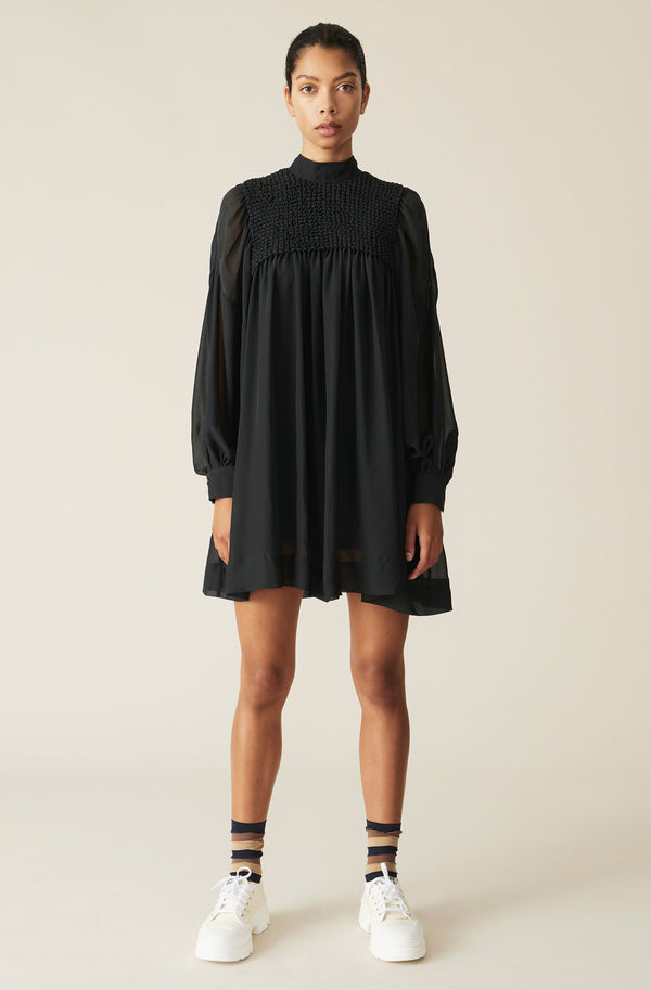 Ganni Smock Chiffon Mini Dress Phantom