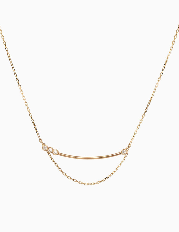 Sophie Ratner Asymetrical Diamond Bar Necklace