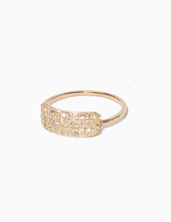 Sophie Ratner Diamond Studded Tag Ring