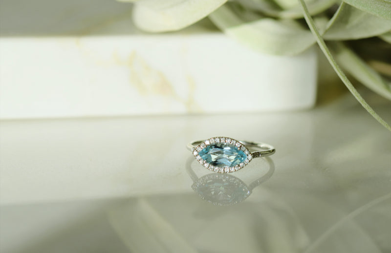 Suzanne Kalan Blue Topaz and White Diamond Marquis Ring