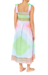 Juliet Dunn Diamond Tie Dye Tie Shoulder Dress W/Lurex Embro Coral/Turq/ Green/Gold