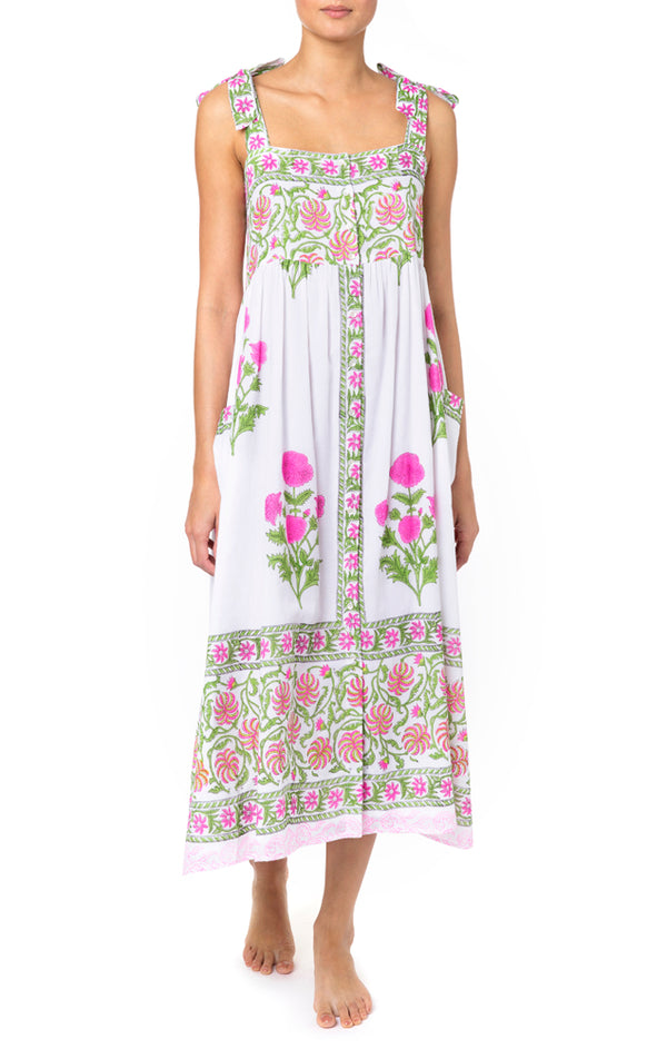 Juliet Dunn Tie Shoulder Dress With Poppy Block Print - Lined White/ Fuchsia