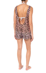 Juliet Dunn Tie Dye Leopard Print Dungareenies W/Lurex Piping Red/Pink