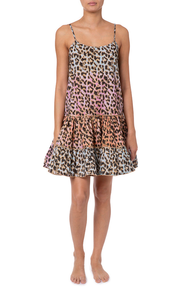 Juliet Dunn Tie Dye Leopard Print Strappy Dress W/Lurex Piping Turq/Pink/ Peach