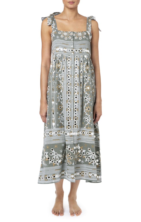 Juliet Dunn Nomad Print Tie Shoulder Dress - Lined Slate/ White
