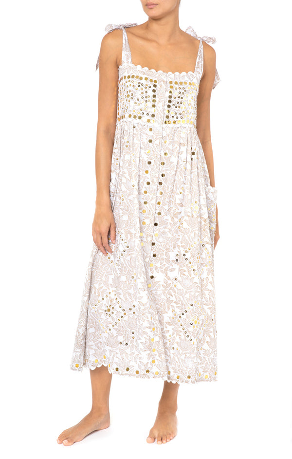 Juliet Dunn Tie Shoulder Dress W/All-Over Block Print & Gold White/Gold
