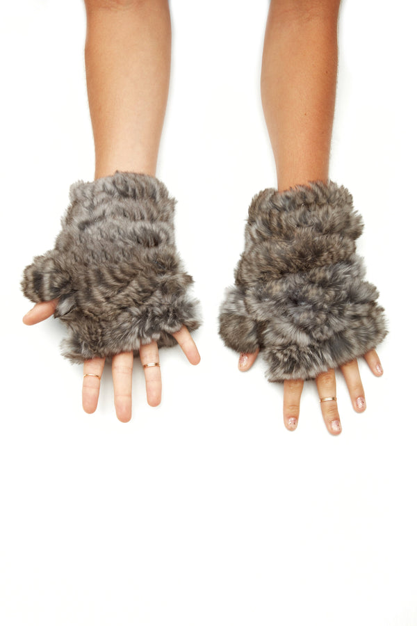 Jocelyn Faux Fur Knitted Mandy Mittens