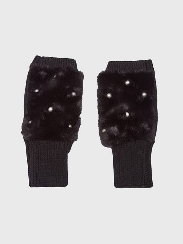 Jocelyn Faux Fur Texty Time Mittens with Embellishment