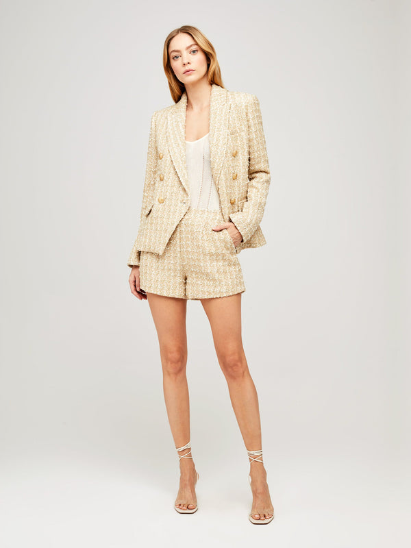 L'Agence Kenzie Double Breasted Blazer Rose Gold