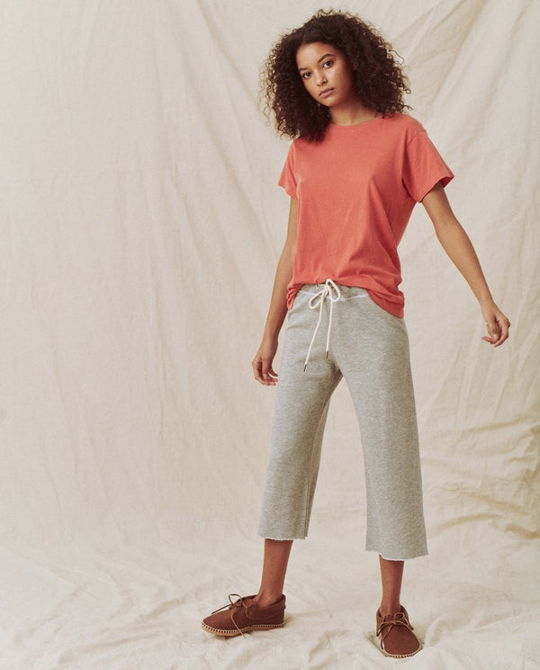 The Great The Wide Leg Cropped Sweatpant Light Heather Grey