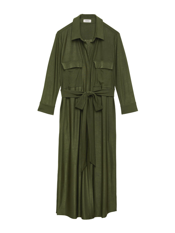 L'Agence Rivi Long Shirt Dress Olive