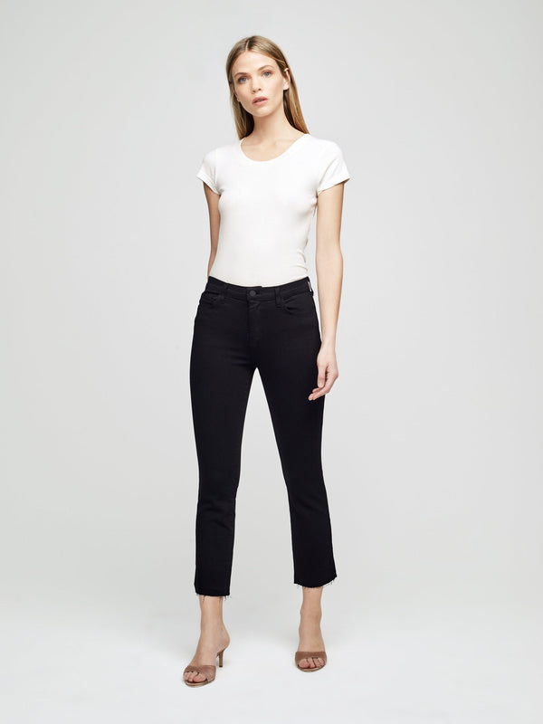 L'Agence Sada High Rise Crop Slim Black