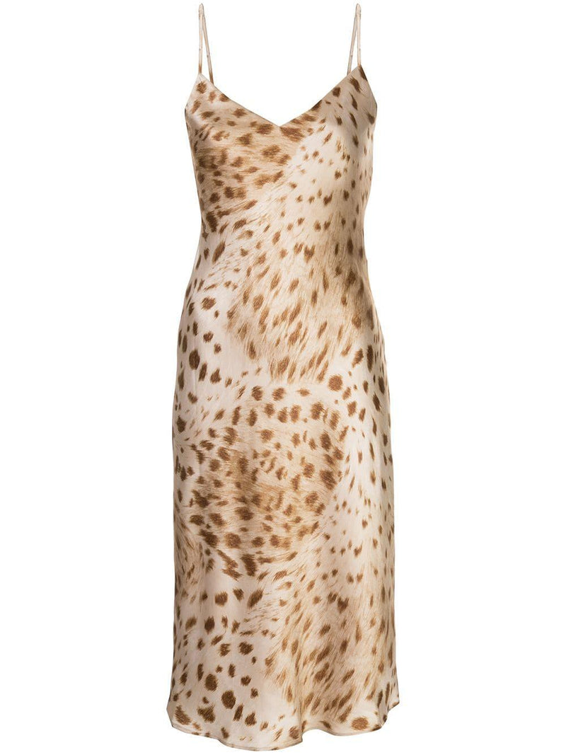 L'Agence Jodie V Neck Slip Dress Cacao