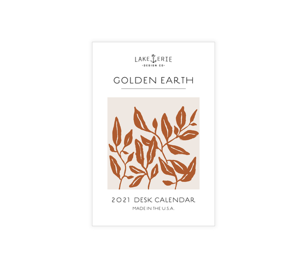 Lake Erie Design Co Golden Earth Desktop Calendar