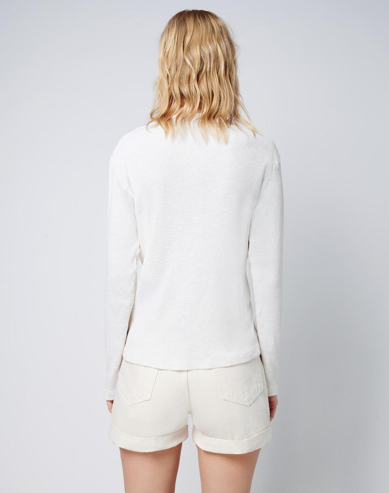 Re/done Henley Thermal Long Sleeve Vintage White