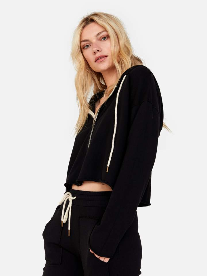 Mate The Label Lewis Cropped Hoodie Jet Black
