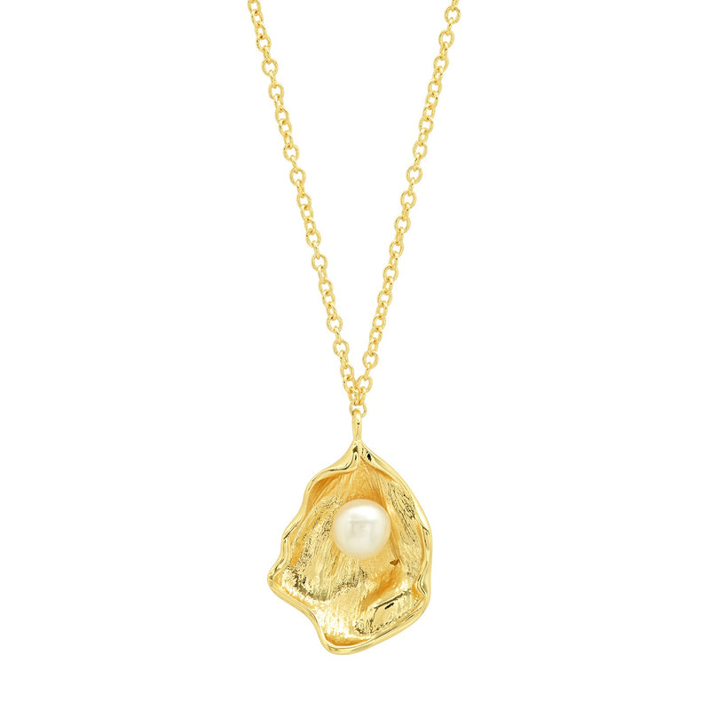 Tai Gold simple chain necklace with oyster shell, pearl center