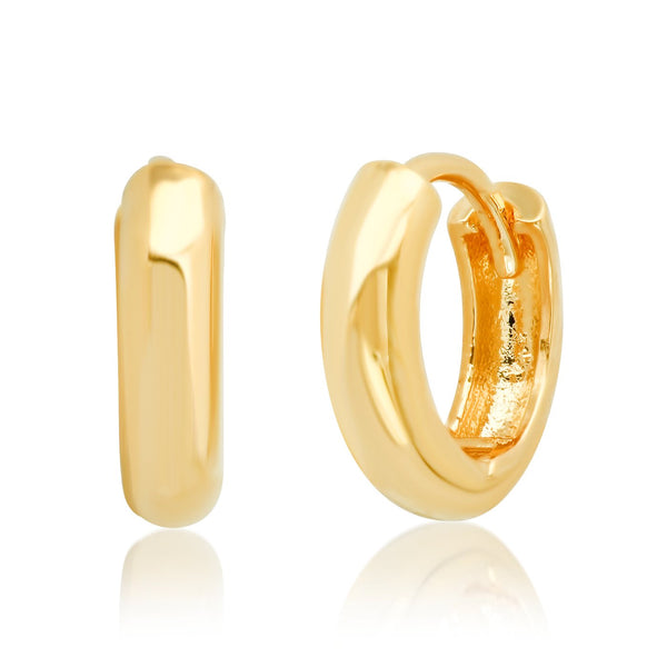 Tai Outside diameter: 12MM; Width: 3MM - Gold plated huggie earrings