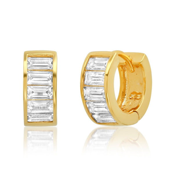 Tai Outside Diameter: 12MM; Width: 4mm - Horizontal crystal thick huggie earrings