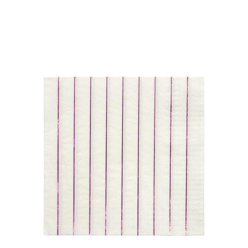Meri Meri Metallic Pink Striped Large Napkins
