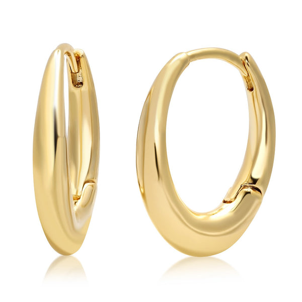 Tai Oval shaped simple gold hoop earring - 3*10*13