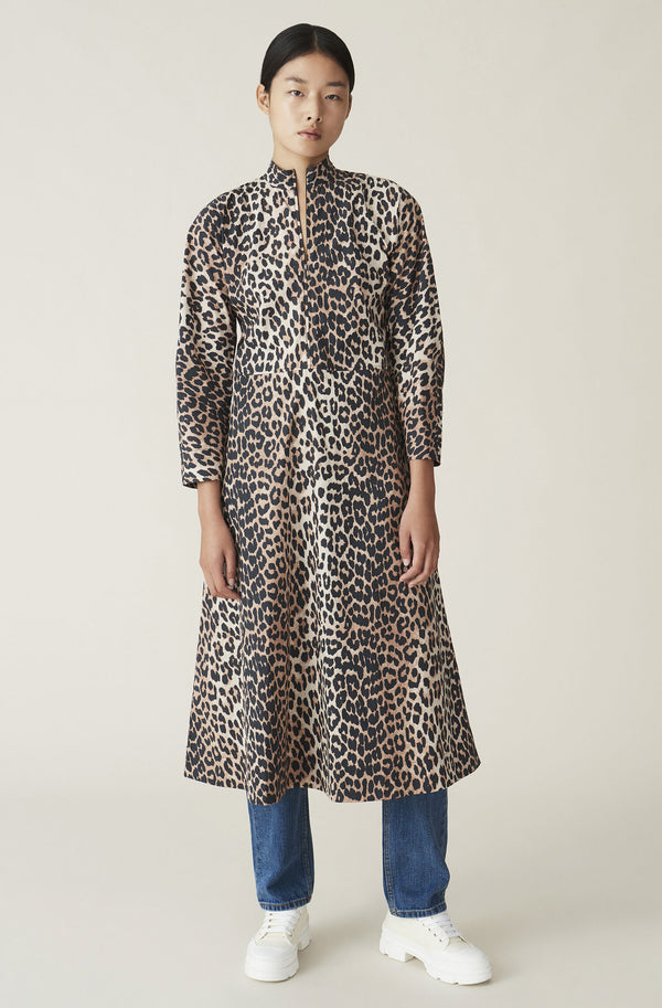 Ganni Printed Cotton Midi Dress Leopard