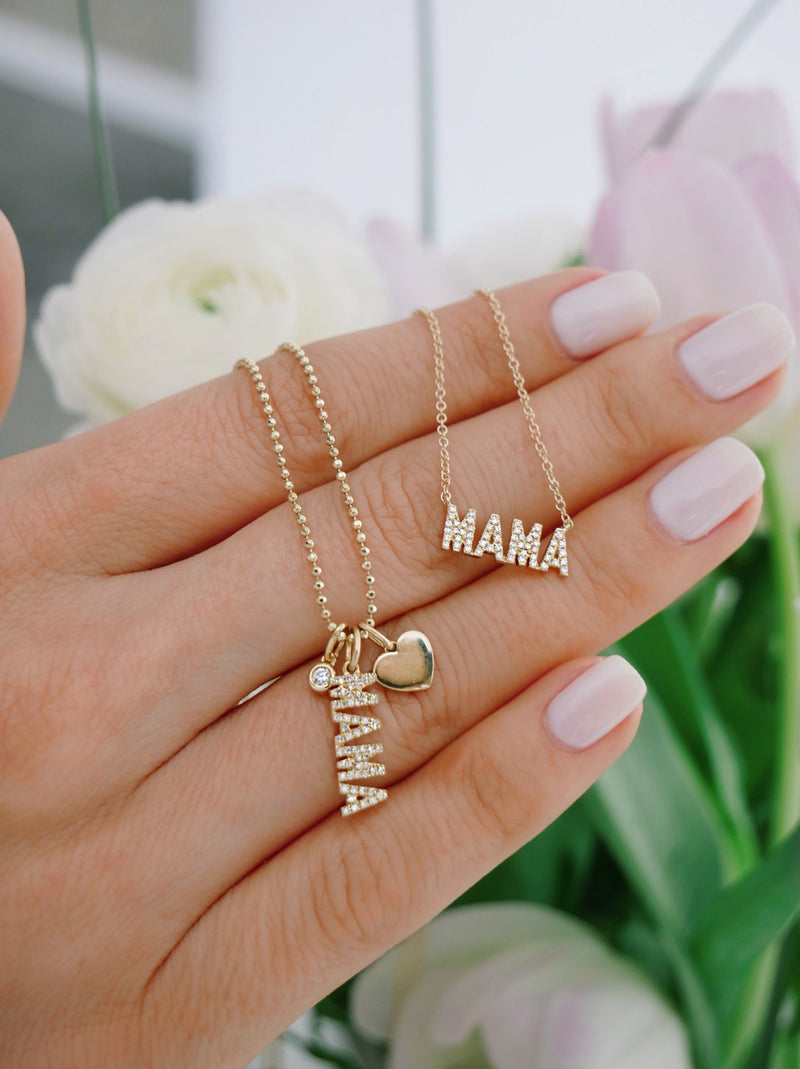 EF Collection Mini Diamond Mama Initial Necklace
