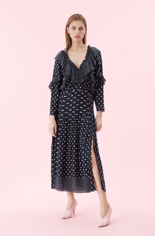 Rebecca Taylor Long Sleeve Dot Ruffle Dress Navy Combo