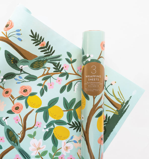 Rifle Paper Co. Roll of 3 Shanghai Garden Wrapping Sheets