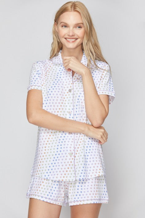 Roller Rabbit Disco Hearts Polo Pajama Set Rainbow