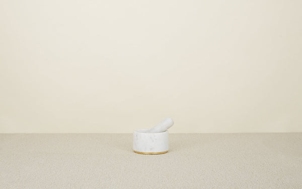 Hawkins New York Mara Marble + Brass Mortar + Pestle