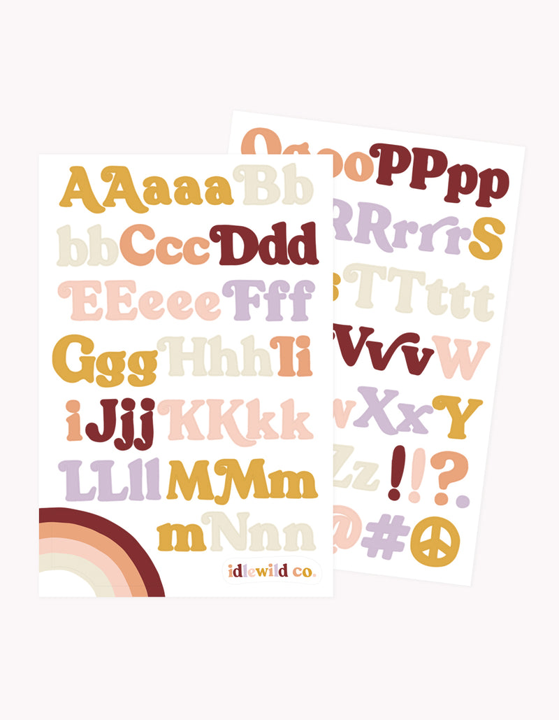 Idlewild Groovy Alphabet Stickers (2 Sheets)