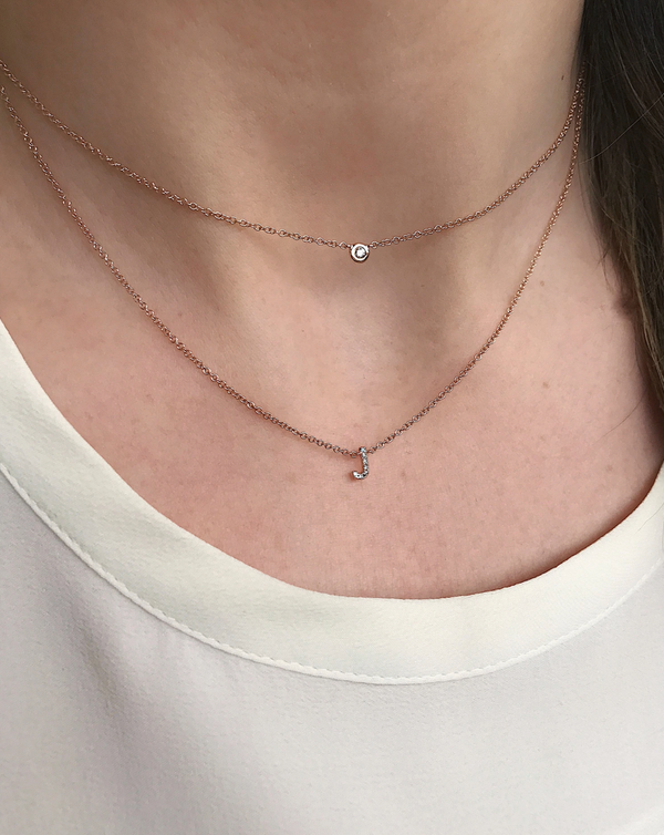 EF Collection Diamond Choker Initial Necklace