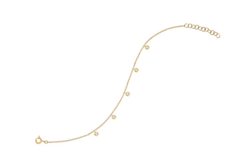 EF Collection Diamond 5 Bezel Chain Anklet