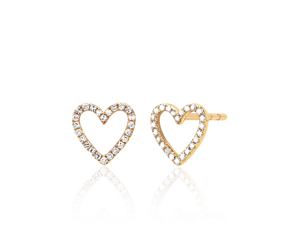 EF Collection Diamond Open Heart Stud Earring (PAIR)