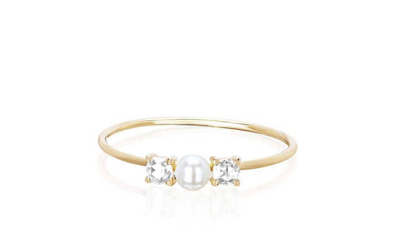EF Collection Rose Cut Diamond Pearl Ring