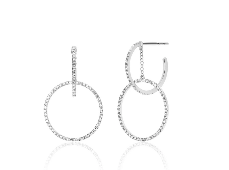 EF Collection Diamond Interlocking Hoop Stud Earring (PAIR)
