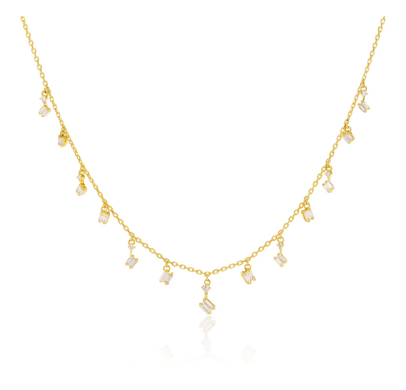 "Suzanne Kalan Necklace - 096ct White Diamond Baguette & 010ct Round White Diamond Dangles - 16""/18"" Adjustable Chain"