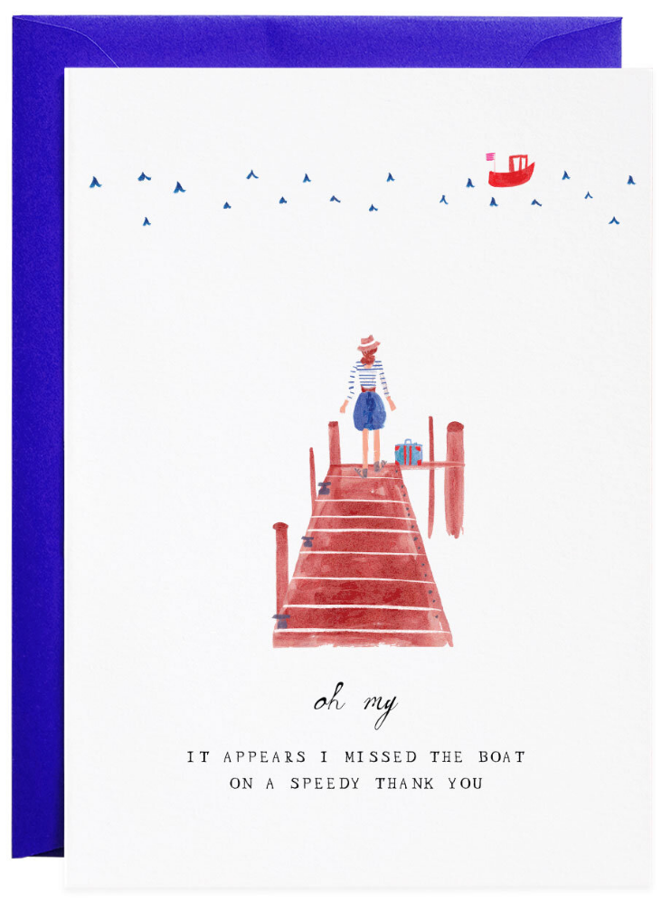 Mr Boddington Thank You - Missed the Boat - Greeting Card