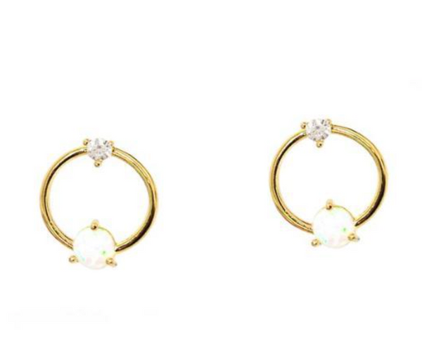 Tai Gold vermeil open circle earring with white opal and CZ
