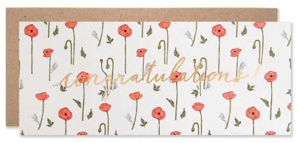 Hartland Brooklyn Congratulations Red Poppies with Copper Foil