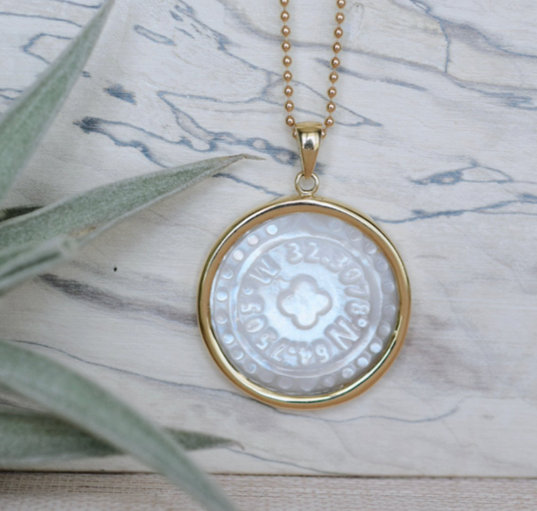 Bermuda Coordinates Mother of Pearl Pendant 14K Gold