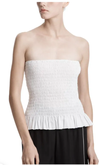 ATM Cotton Poplin Ruched Tube Top White