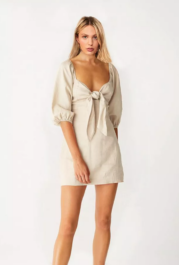 Suboo Wanderer Tie Front Mini Dress Beige