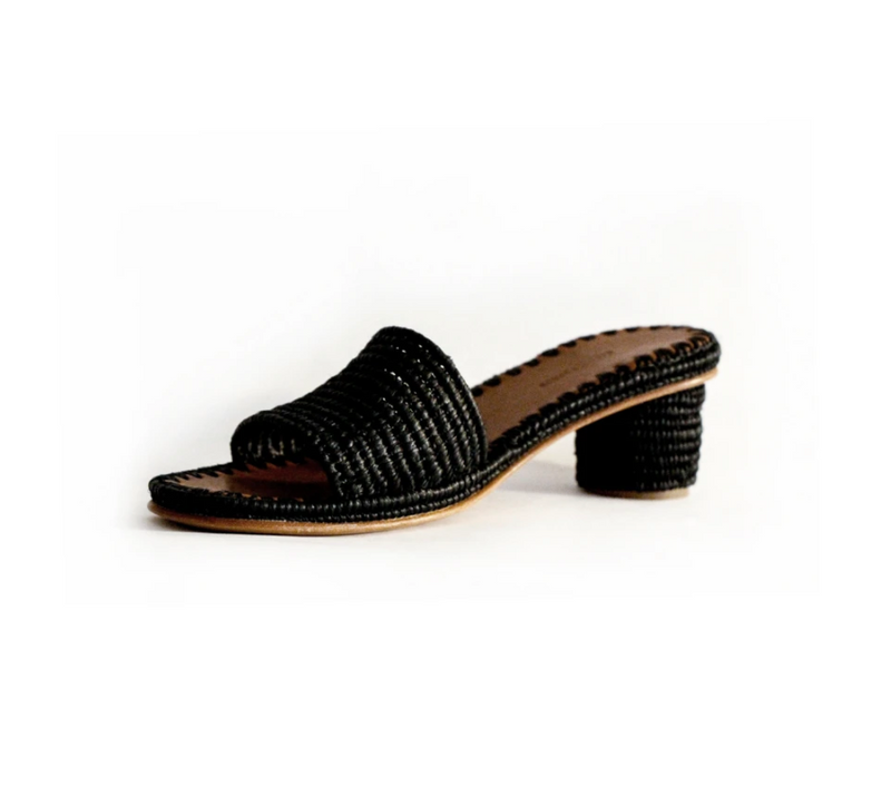 Carrie Forbes Bou Noir Raffia Slide with Heel
