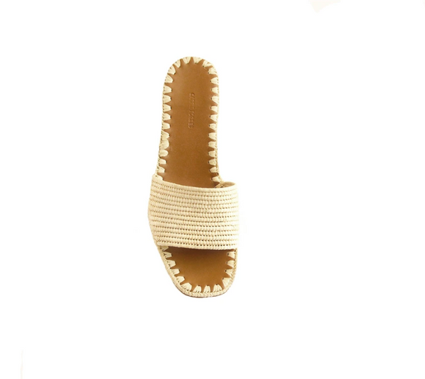 Carrie Forbes Bou Natural Raffia Slid with Heel