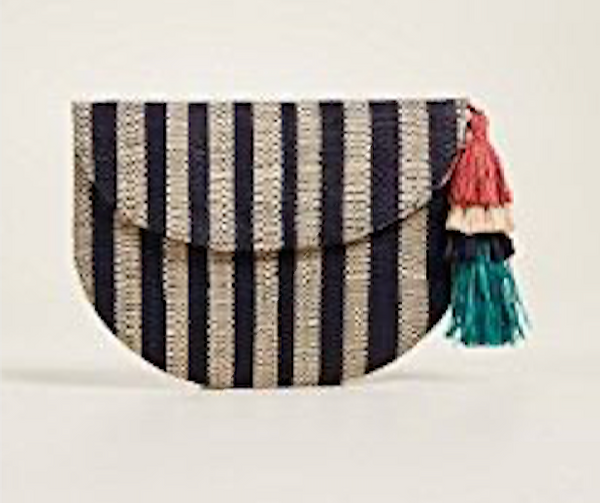 Mar Y Sol Lucia Striped Woven Clutch