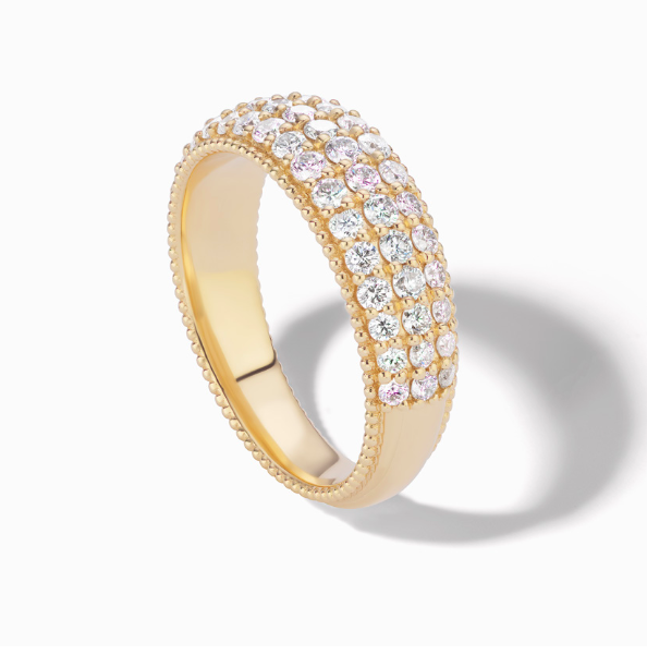 Sophie Ratner Wide Pave Band with Milgrain