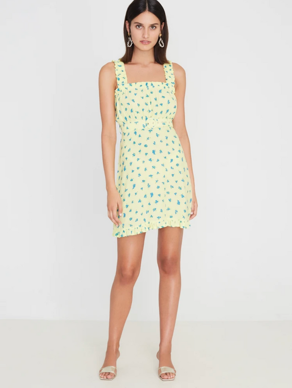 Faithfull the Brand Mid Summer Mini Dress - Luda Floral Print - Lemon